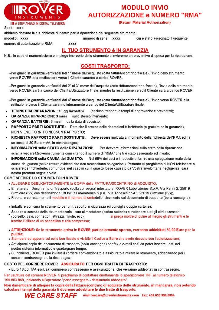 RMA per Strumento in Garanzia ROVER 06-2016