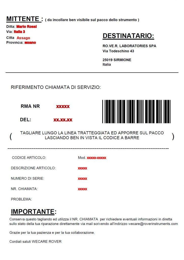 ROVER FAC SIMILE etichetta spedizione Maggio 2014 IT