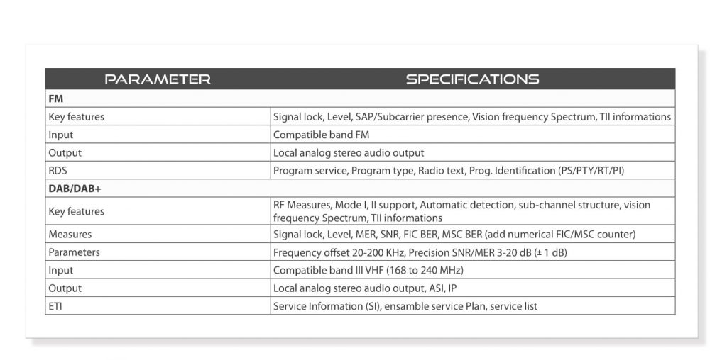 ROVER BROADCAST - EXAMINER PROBE - TECHNICAL SPECIFICATIONS c