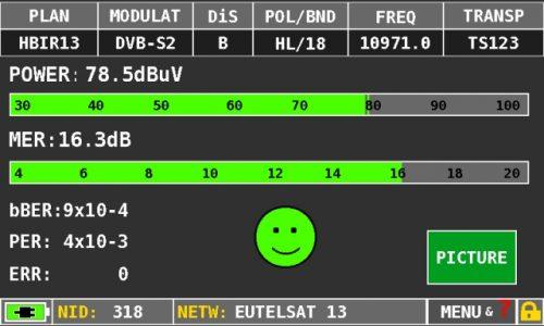 ROVER HD TAB 4 Sat DVBS2 measures