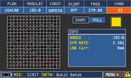 ROVER OMNIA 7000 J83-B QAM256 constellation