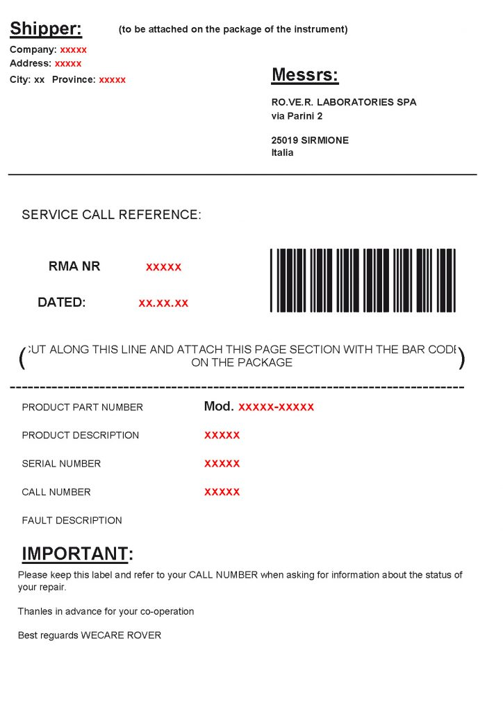 ROVER and PRIME DIGITAL shipment label example 05-14
