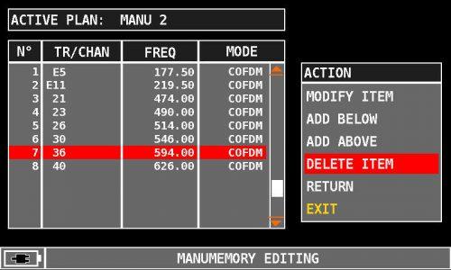 ROVER HD Series MANUMEMORY 36 DELETE ITEM