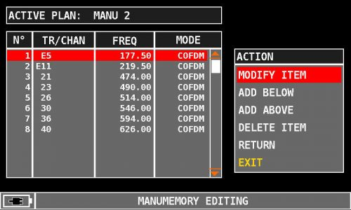 ROVER HD Series MANUMEMORY E5 MODIFY ITEM