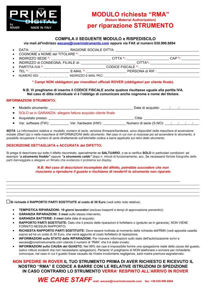 PRIME DIGITAL Modulo richiesta RMA per riparazione strumento PRIME DIGITAL 01-2019