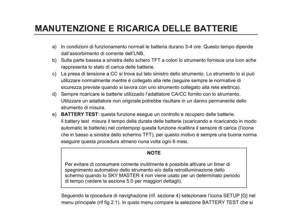 SkyMaster 4 - Procedura di battery test V903-44