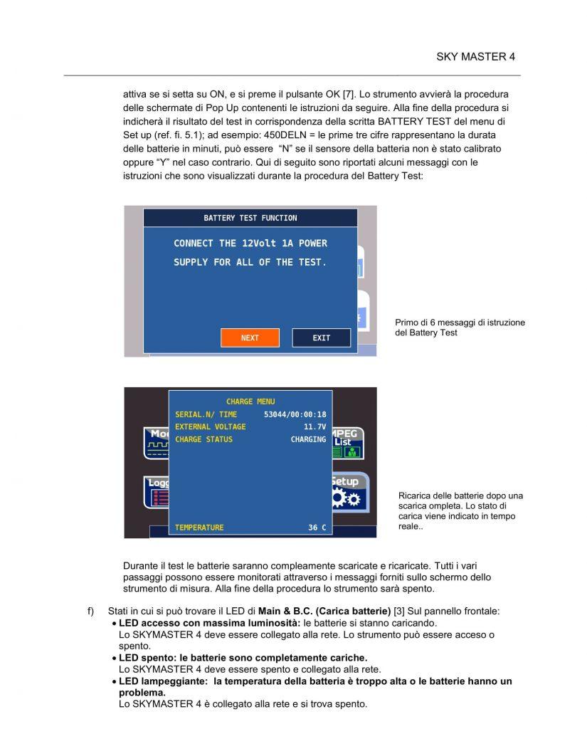 SkyMaster 4 - Procedura di battery test V903-45